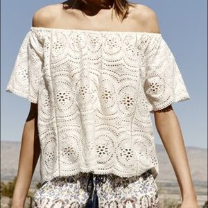 JOIE cream Lace Eyelet Off the Shoulder top